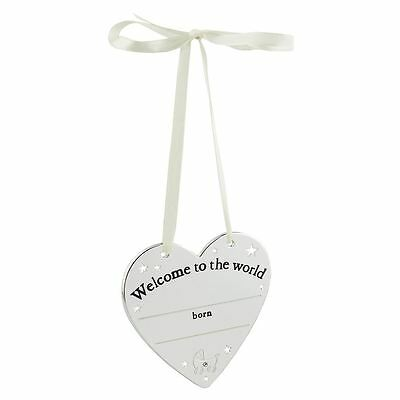 Bambino by Juliana - Silver Plated Heart Plaque - Welcome to the World  - CG949