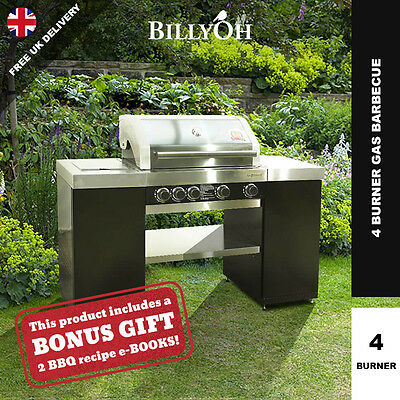 Hooded Gas BBQ 4 Burner with Side Burner - Grillstream Technology Barbecue