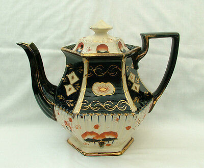 Victorian gaudy welsh hand painted  Imari colour large teapot
