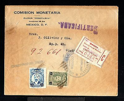 12002-MEXICO-REGISTERED OFFICIAL COVER MEJICO D.F. to MEJICO CITY.1921.Certifica