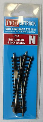 """N Scale - PECO SETRACK ST-5 INSULFROG Code 80 Right Hand 9"""" Radius Turnout"""