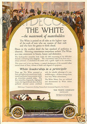 Antique 1915 White Motor Car MASTER Builder Color AUTO Advertising Poster Ad