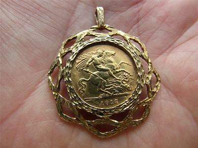 Lovely ANTIQUE 22ct Gold  1912 GEORGE V  1/2 Sovereign pendant in 9ct Gold Mount
