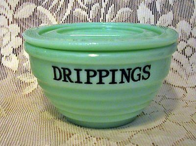 VINTAGE STYLE JADE GREEN GLASS COVERED DRIPPINGS BOWL ~  Jadeite GREASE Jar ~