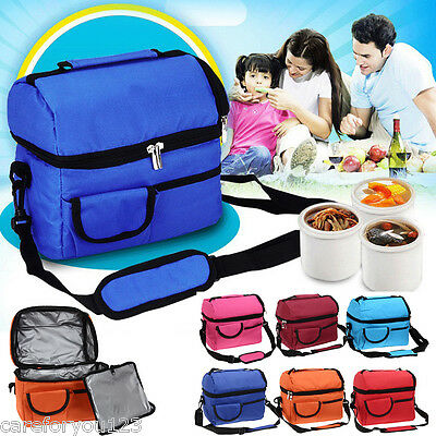 Waterproof Thermal Shoulder Picnic Cooler Insulated Lunch Bag Storage Box Tote