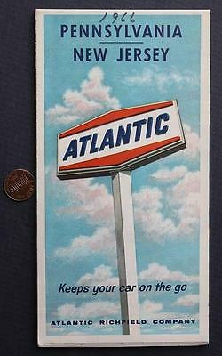 1966 Atlantic Richfield Oil Gas service station Pennsylvania-New Jersey road map