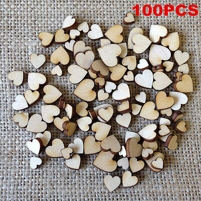 100pcs Rustic Wood Wooden Love Heart Table Scatter Wedding Decoration Crafts DIY