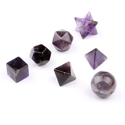 Natural Tumbled Amethyst Etc Carved Sacred Geometry Symbols with Merkaba Star