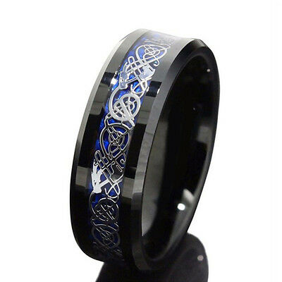 8MM Blue Black Silvering Celtic Dragon Tungsten Carbide Ring Mens Jewelry Sz4-13