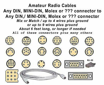 CABLE with a DIN / MINI-DIN to a DIN / MINI DIN connector UP TO 6 WIRES TOTAL