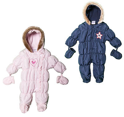 Babies Snowsuit Winter Coat All In One Fleecy Lined Pink or Navy NB 0-3 3-6M