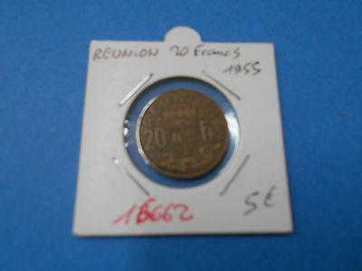 Reunion 20 Francs 1955 - Old French Coin - Ref16662