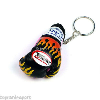 Twins Black Flame Boxing Glove Keyring Muay Thai Boxing Sparring GYM