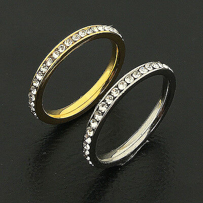 316L Stainless Steel CZ Wedding 2mm Band Knuckle Tail Pinky Ring SZ 2-5