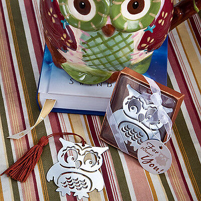 1 x Owl Design Book Marker Favour - NEW - Bookmark - Silver - BOXED