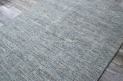 8x10 Plush Coastal Tropical Modern Gray Aqua Teal Blue Green Area Rug
