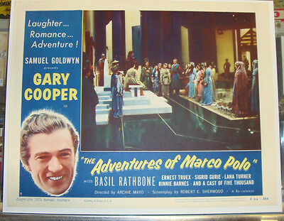 ADVENTURES OF MARCO POLO (1954) Re-Release 11 x 14 Lobby Card * GARY COOPER *
