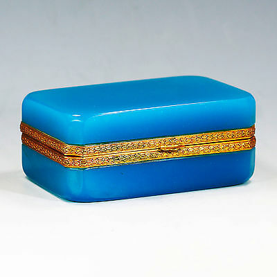 Vintage Italy Murano blue opaline art crystal glass Box Casket Seguso Ferro old