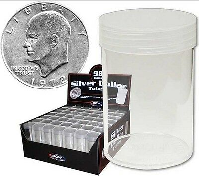 (98) BCW Round Large Dollar Coin Tubes Clear with Screw On Lids