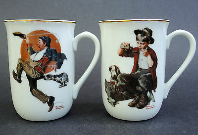 Coffee Mug x 2 Norman Rockwell Hobo & Bedside Manner Saturday Evening Post 8oz