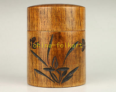 Collectable Hand Cherry Wood Carving Orchid Art Tea Storage Box
