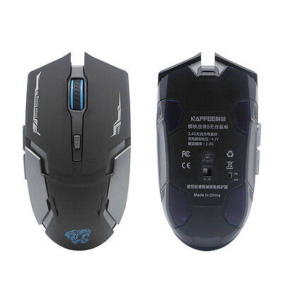 2.4G USB Wireless Rechargeable 2400DPI 6 Buttons Optical Ergonomic Gaming Mouse