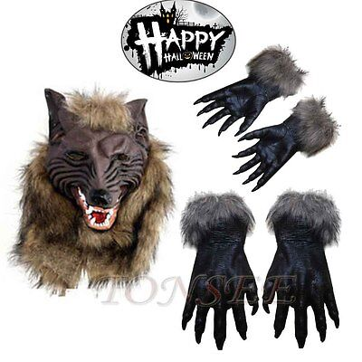 Halloween Party Cosplay Latex Werewolf Wolf Gloves Costumes Props Wolf Claw Lot
