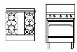 Goldstein Ranges - Gas 4 Burner With Static Electric Ovens (Natural Convection)