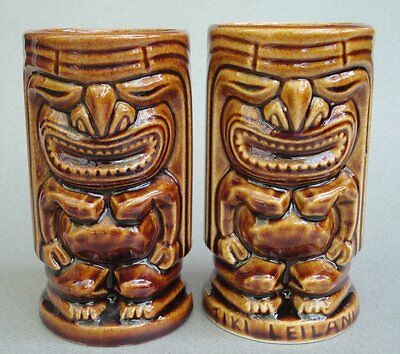 TIKI Mug x 2 KU God Hawaiian 8oz Leilani Glazed Art Pottery Cocktail Barware
