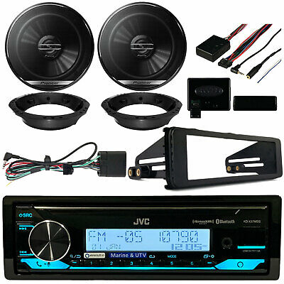 "JVC Radio, Kicker 6.5"" Speaker Set , Harley 98-2013 Install Adapter Kit"