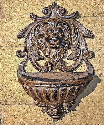 MAJESTIC Cast Iron LION HEAD GARDEN WALL PLANTER ~ Antiqued Rust ~