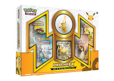 Pokemon Pikachu EX Red & Blue Collection Box with Generations Packs
