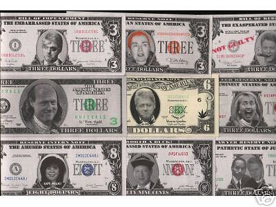 13 DIFF RARE OUT-OF-PRINT 90's BILL CLINTON BILLS! HILLARY-OUS! $100 RETAIL VALU