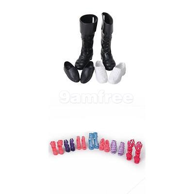 7 Pairs High Heels sandals & 3 Pairs Sneakers Boots Shoes For Barbie Ken Doll