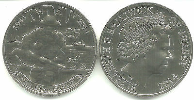 JERSEY 5 £ 2014 70th ANNIVERSARY D-DAY CROWN SIZE BRILLANT UNCIRCULATED