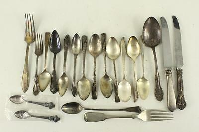 Vintage Mixed LOT 18PC Flatware Silverplate Forks Spoons Knives Pattern Variety