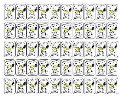 "50 Snoopy Hugging Woodstock Envelope Seals / Labels / Stickers, 1"" x 1.5"""