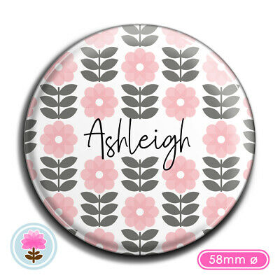 PERSONALISED Stem FLOWER 58mm Ø POCKET MIRROR Wedding/Hen/Christmas Gift/Favour
