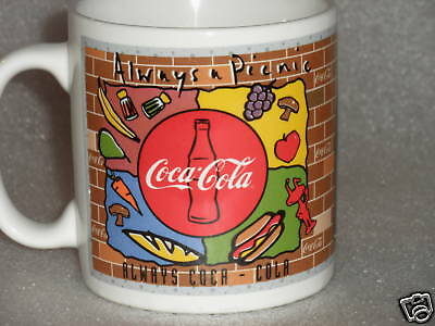 Coffee Mug Coke Coca Cola Always a Picnic Bon Appetit 16oz Logo 1995 Enesco Vtg