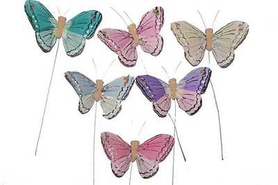 """3"""" Artificial Feather Butterfly Craft Fake Floral Wedding Butterflies BF772 X 24"""