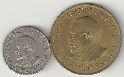 2 DIFFERENT COINS from KENYA - 10 & 50 CENTS (BOTH DATING 1971)