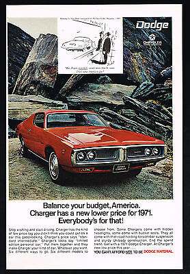 1971 Dodge Red Charger Photo Stan Hunt Drawing Vintage Print Ad