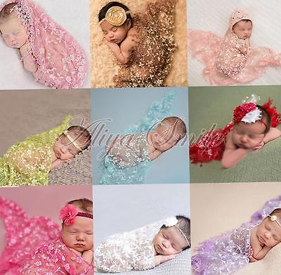 2PCS Newborn Baby Lace Cocoon Swaddle Wrap Blanket +Headband Photo Props Outfits