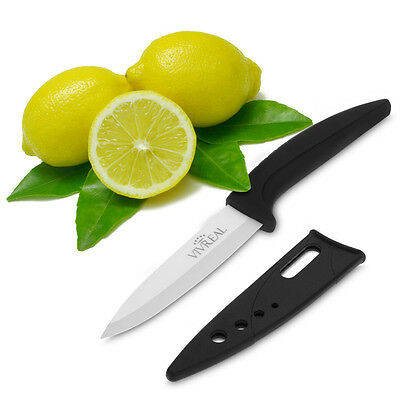 Kitchen Cutlery Ceramic Meat Fruits Vegetables Knife with Sheath Black Universal