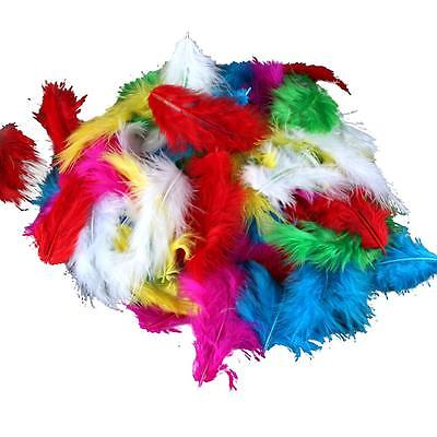 Lot of 120 Assorted Mix of Bright Color Marabou Turkey Feathers New