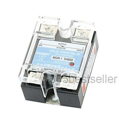 MGR-1 D4850 DC 3-32V to AC 24-480V 50A Solid State Relay w Clear Cover