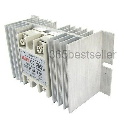 AC to AC Solid State Relay SSR-25AA-H 25A 80-280V 90-480V + Aluminium Heat Sink
