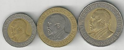 3 DIFFERENT BI-METAL COINS from KENYA - 5, 10 & 20 SHILLINGS (ALL DATING 2005)