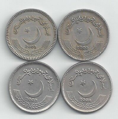 4 DIFFERENT 5 RUPEE COINS from PAKISTAN (2002, 2003, 2004 & 2005)