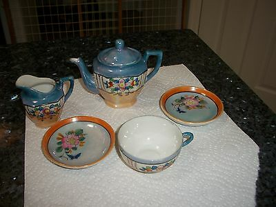 Vintage Made in Japan Children's Luster Teapot, Creamer, Cup & 2 Plates
